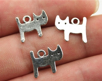 15 Cat Charms, Antique Silver Tone (1H-138)