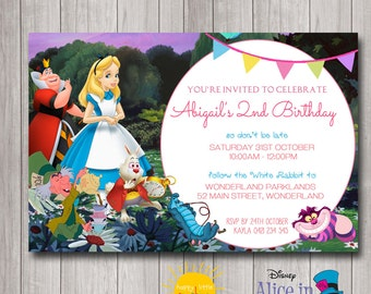 Custom Printable Girl Birthday Invitation Any Age Alice in Wonderland