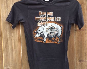 """Vintage 1980s Harley Davidson Rare T-shirt Size Small """"Have You Hugged Your Hog Today"""" Funny T-shirt"""