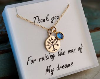 Mother of the groom necklace - Gold Filled Necklace with family tree with Birthstone