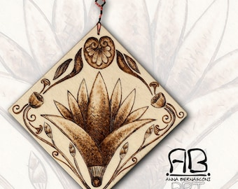 "Small painting or decorative element, in Pirografato wood, subject ""Lotus from the Past"""