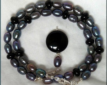 Peacock Pearls and Black Onyx Sterling Silver Necklace