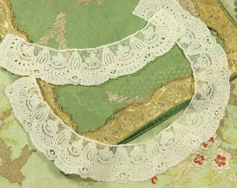 Antique lot of stunning cuffscollar handmade brussels lace  appliques trim piece point de gaze doll dress french trim rose flower