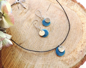 Blue necklace, choker, enamel, round, leather, coin pendant, modern necklace, silver