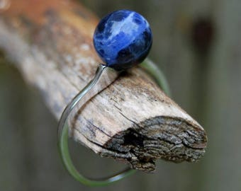 Andromeda - Sodalite Ring, Big Blue Marble ring, astronomy ring, blue gemstone ring, stacking ring, sodalite promise ring, gemstone jewelry