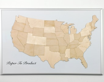 usa united states of america magnetic laser cut wood map puzzle large size
