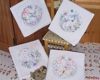 Butterflies, Dragonfly and Hummingbird Designs on Flour Sack Towels