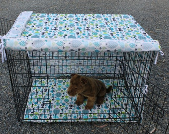 Dog crate cover and pad set .  . pet crate cover. pet crate mat. cage liner