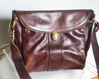 Marino Orlandi Leather Hand Bag, 1980s leather shoulder bag