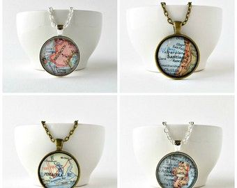 Personalized Map Necklace, Custom Map Jewelry, Birthday Gift for Mom, Retirement Gift for Teacher. Moving Away Gift for Coworker, City Map