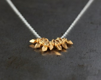 Golden Spike Necklace, Mixed Metal Necklace, Sterling Silver Chain, Gold Vermeil Charms, Everyday Necklace, Gold Dagger, Layering Jewelry