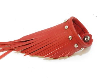 Genuine Red Leather Fringe Wristband with Silver Nailhead Accent - gift for her; birthday; anniversary; bold look