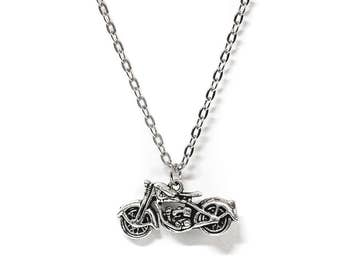 Silver Motorcycle Charm Pendant Necklace