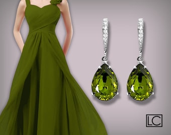Bridesmaids Olivine Green Earrings Swarovski Olivine Crystal Earrings Silver CZ Olivine Green Wedding Earrings Bridesmaids Gift Earring