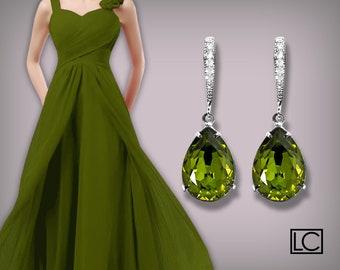 Olivine Green Earrings Olivine Crystal Earrings Swarovski Rhinestone Silver CZ Olivine Green Wedding Earrings Green Bridesmaid' Gift Earring