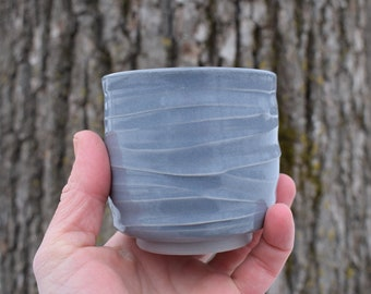 Stoneware Yunomi, Wheel Thrown Cup, Small Pottery Cup, Ceramic Handmade Teacup, Japanese Tea Cup, Whiskey Cup, Gray Cup, Gift Idea