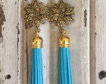 Turqouise tassel earrings