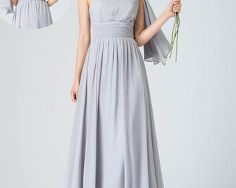 one shoulder dress, maxi evening dress, backless dress, empire waist dress, gray chiffon dress,  ladies dresses, pleated dress 1912