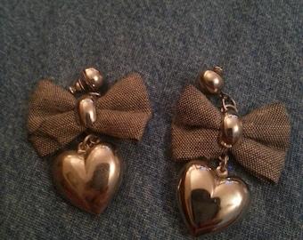 Vintage Silver Tone Dangle Heart Earrings