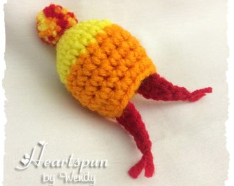 Unofficial Firefly Jayne's Hat EOS Lip Balm Holder with clip to attach to a key chain or bag.  Hand crocheted, fits eos or similar lip balm.