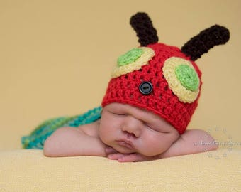 Very Hungry Caterpillar ~ Handmade Crochet Baby Photography Prop for Newborn,  Finished Item ~ Pick your own colour