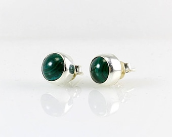 Sterling Silver Tiny Genuine Green Malachite Gemstone Handcrafted Round Stud Earrings