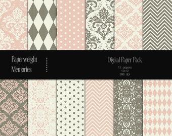 Antique Wallpaper - digital patterned paper - Instant Download -  digital scrapbooking - patterned paper - Commercial use