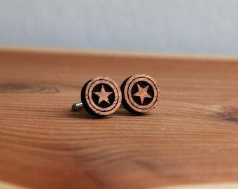 American Star Wood Cufflinks - Groomsmen Gifts - Weddings - Black Tie - Gifts for Men - Wood Gifts - Anniversary Gift