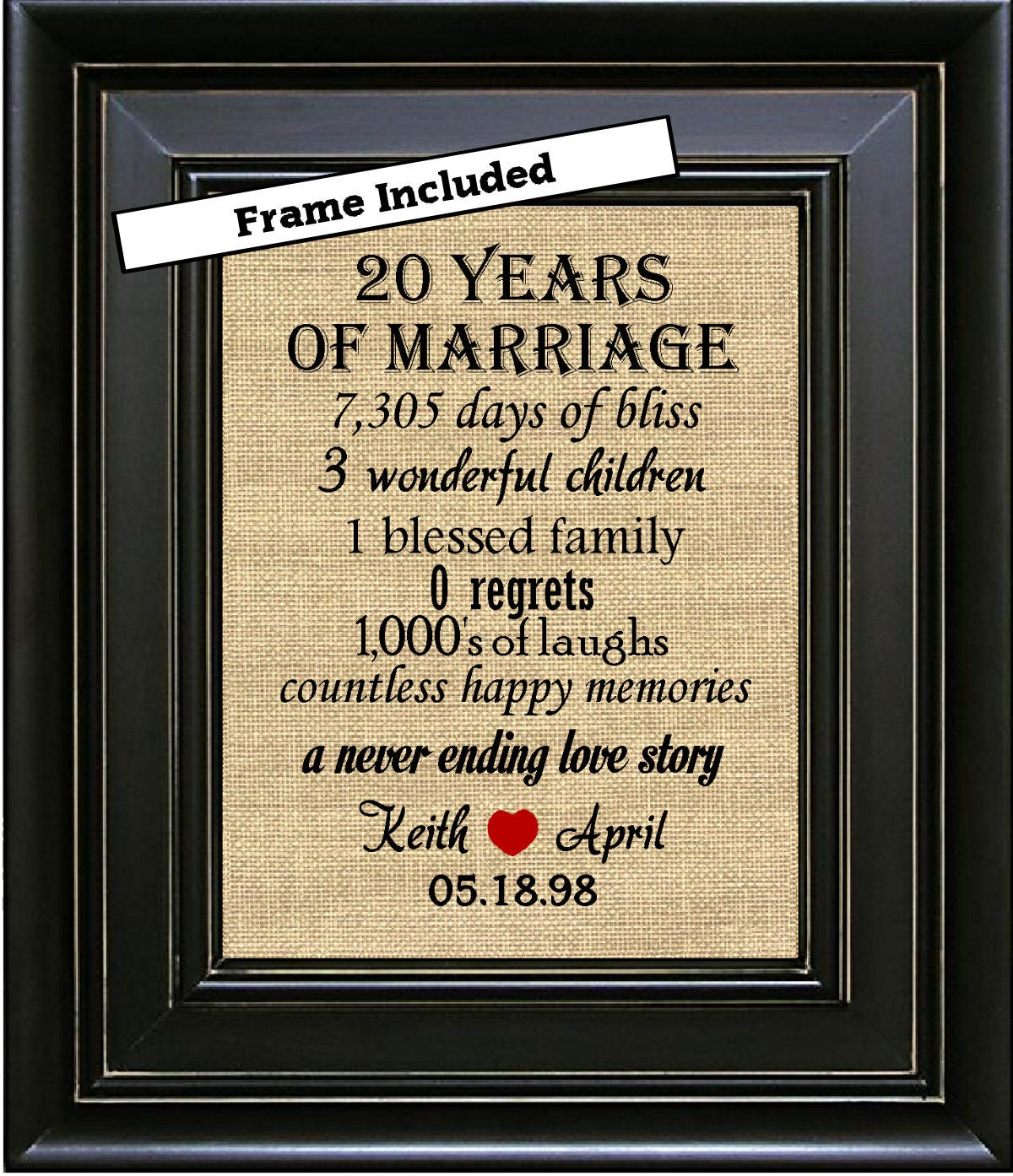 20 Years Wedding Anniversary Gifts: FRAMED 20th Wedding Anniversary/20th Anniversary Gifts/20th