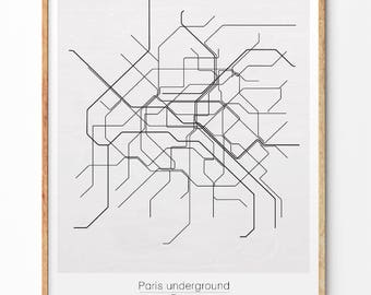 paris underground paris metro city map underground map minimalist print monochrome