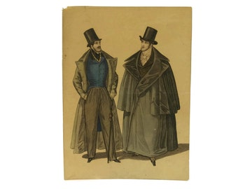Antique 1800s Mens Fashion Illustration. Fashion Plate Engraving of Men with Coats and Top Hats.