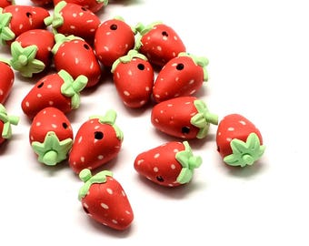 Polymer Clay Straweberry Beads - Red - Sold per 10 piece bag - #SH326