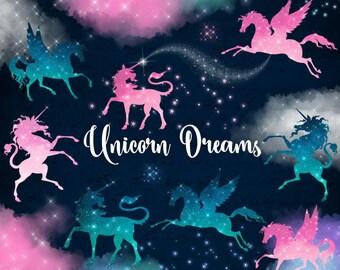 Unicorn Dreams Clipart, fantasy and pegasus unicorn clip art, dream graphics, pastel glitter princess fairy tale digital instant download