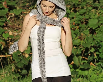 Silver Grey Hooded Scarf  Soft Snood Skood Winter Handmade Gift for Adults Teens and Children