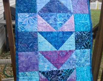 Batik Blues Flying Geese Quilted Table Runner