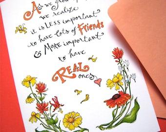 Friendship Quote Card - Best Friend Card - Girlfriend Birthday - Wildflowers Card