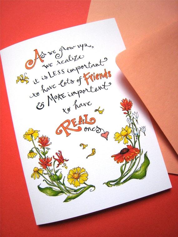Best Friend Quotes Birthday Cards: Friendship Quote Card Best Friend Card Girlfriend Birthday
