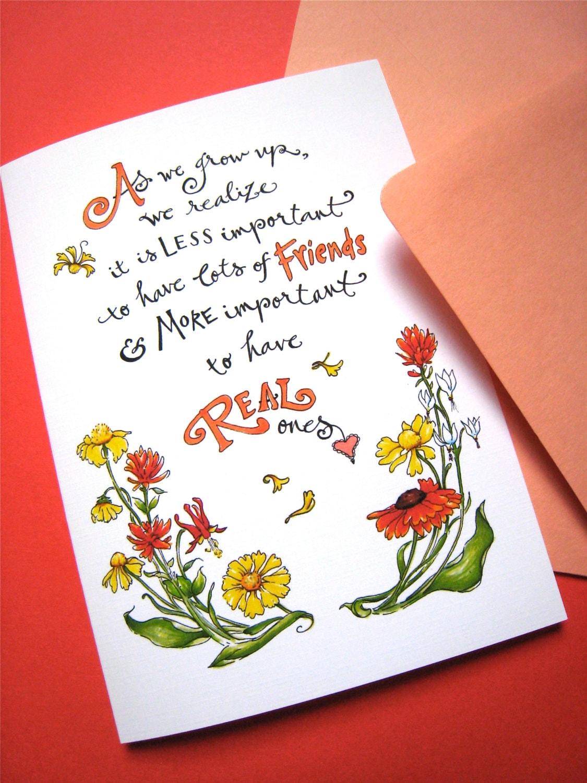 Friendship Quote Card Best Friend Card Girlfriend Birthday
