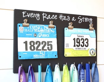 Running Race Bib and Medal Holder - Every Race Has a Story
