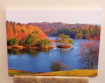 "Print on Canvas - Tarn Hows - Lake District - Autumn - England - UK - 14"" x 19"""