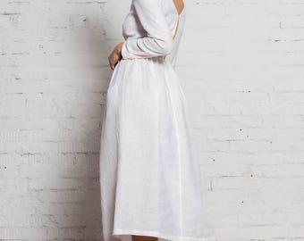 Venus Linen Dress | Pure White