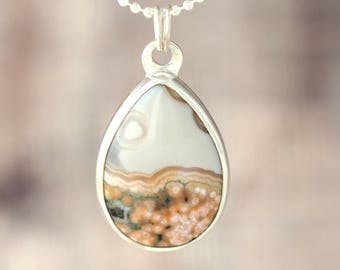 Ocean Jasper Necklace - Sterling Silver Ocean Jasper pendant - teardrop jasper - pink white ocean jasper necklace - gift for her