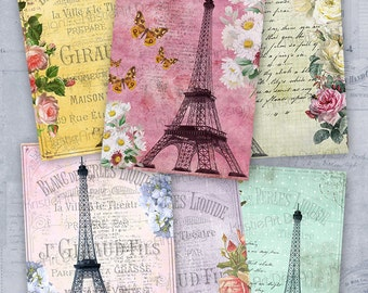 75% OFF SALE Eiffel Tower - Digital Collage Sheet Printable download Gift tags digital image atc card cardmaking card vintage scrapbooking