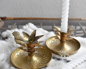 mid century hollywood regency solid brass pineapple candleholders / set pair