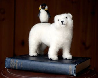 One-of-a-kind Book Polar Bear and Penguin Needle Felted Soft Sculpture Animal Bird Book by Bella McBride