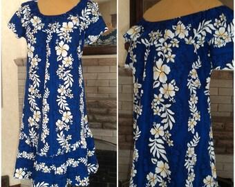 Hawaiian Muumuu Dress On Off Shoulder Sale XL JADE FASHIONS Polished Cotton Top Bottom Ruffle Tropical Hawaii Beach Wedding