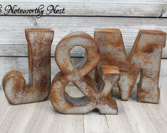Rustic letter initial // Industrial letter // ampersand / Rustic Wedding // Farmhouse decor // Rusted Look Galvanized Letter // Metal Letter