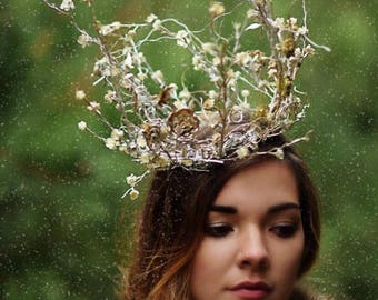 Crown, Queen Crown, Gold Silver Crown, Princess Crown, White Witch Crown, Fascinator, Hat, Kentucky Derby Hat, Royal Ascot Hat, Steeplechase