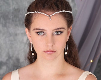 Luna Bridal Tiara, Bridal Headpiece, Wedding Tiara, Pearl Tiara, Bridal Crown, Bridal Headband, Bridal Hair Accessory, Pearl Headband