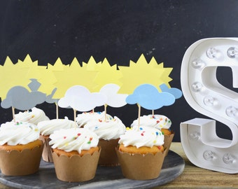 You Are My Sunshine Cupcake Toppers - suns and clouds in yellow, blue, white and grey